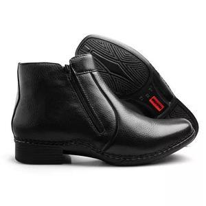 Bota masculina botina ortopédica sapato social couro ziper