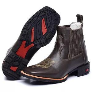 Bota texana country botina masculina bico quadrado.