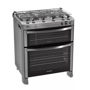 Fogão 5 bocas acendimento automático duplo forno jjwt