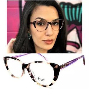 Armação oculos grau original d6528 gatinho acetato pr