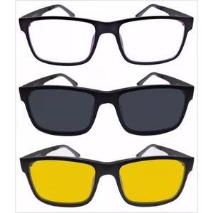 Armação oculos grau sol masculino 2 clip on rb2088