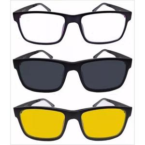Armação preta óculos de grau grande + 1 clip on lentes