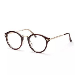 Armação óculos redonda retrô com haste de metal
