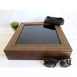 e65ab928c Caixa estojo organizador porta 8 óculos madeira maciça