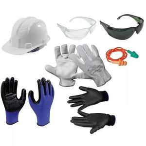 Kit proteção óculos + capacete + 4 luva p/ obras