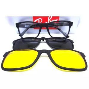 f7aa4bb605b9a Oculos armação + 2 clip on clipons sol grau masculino 20