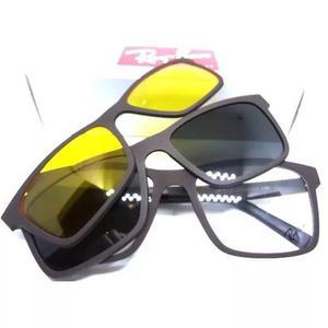 6b1fc4ebfc489 Oculos armação + 2 clip on sol e grau masculino f