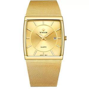 Relógio fino wwoor dourado quadrado original