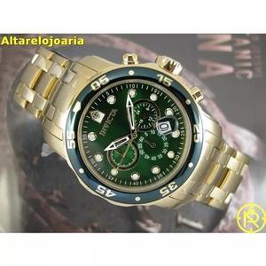 Relógio invicta pro diver plaque ouro fundo verde 21925