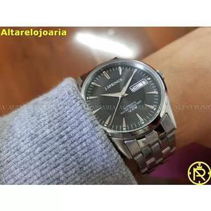 Relógio jsprings masculino aço inoxidável fundo preto