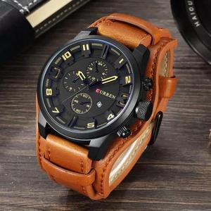 Relógio masculino couro original prova dágua + caixa