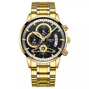 cc3061bbef5 Relógio masculino nibosi 2309-1 original 30 metros dourado