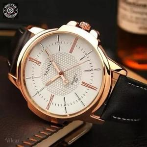 Relógio masculino original prova dágua couro + estojo