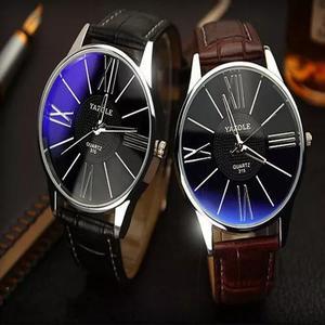 Relógio masculino original yazole couro brinde caixa barato