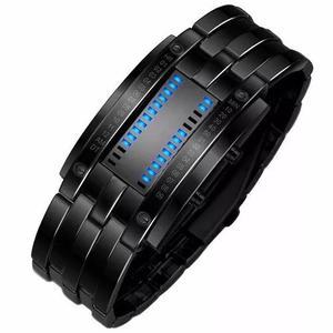 Relógio masculino pulso aço de liga data digital led-preto