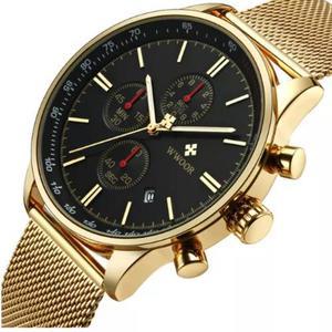 58b39e3a668 Relógio masculino pulso original luxo dourado social top