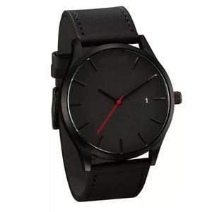 Relógio masculino pulso quartzo esportivo couro preto