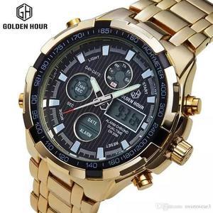 Relógios masculinos dourado luxo inox original gh-108 8ee2252f3a