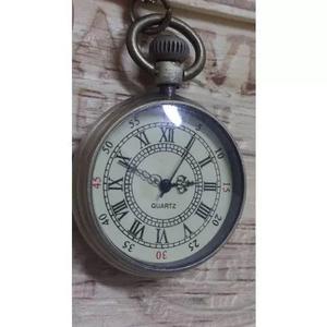 Relógio de bolso, colar, pingente tipo bronze antigo
