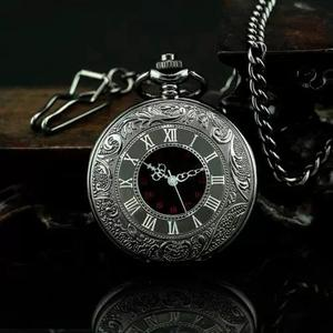 f83c0428d12 Relógio de bolso steampunk preto com corrente retro vintage