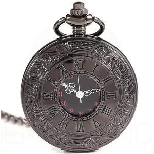 Relógio de bolso steampunk preto retro quartzo romanos