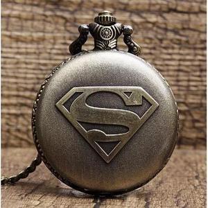 Relógio de bolso super heroes quartzo com corrente