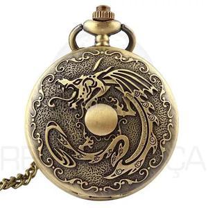 Relógio de bolso vintage dragão horóscopo chinês quartzo