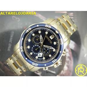 Relógio invicta pro diver 0073 plaque ouro 18kt dourado
