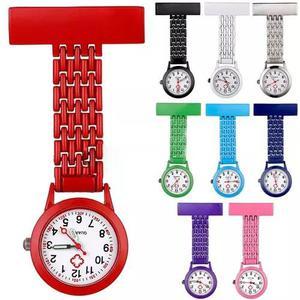 Relógio lapela aço inoxidável jaleco enfermag