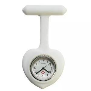Relógio lapela silicone enfermeiras coração branco