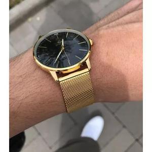 Relógio masculino original aço inox slim ultra fino +