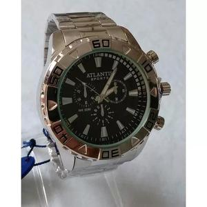 Relógio masculino prateado grande atlantis sports original