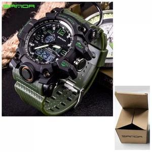 Relógio militar esportivo sanda s shock mod 742 preto/verde