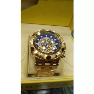 Relógio t3 invicta venom hybrid skeleton dourado blue 53mm