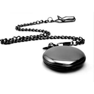 Relogio de bolso preto com corrente pronta entrega