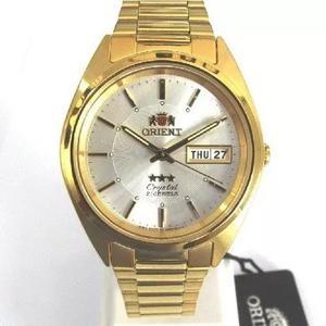 67159cdf11f Relogio orient dourado crystal 21 automatico 3 estrelas orig