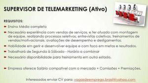 Supervisor Call Center Experiencia Serviços Janeiro