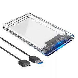 Case gaveta externa hd e ssd 2.5 bolso usb 3.0 transparente