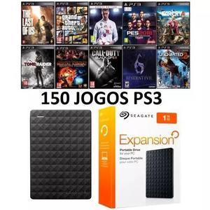 Hd externo seagate 1tb 1000gb c/ 150 jogos ps3 playstation 3