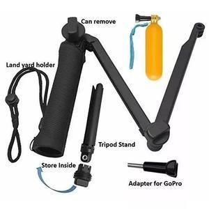 Kit gopro bastão flutuante de mão + bastão 3 way 3 formas
