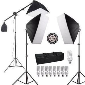 Kit soft-box 50x70 suporte girafa 40x40 estudio luz continua