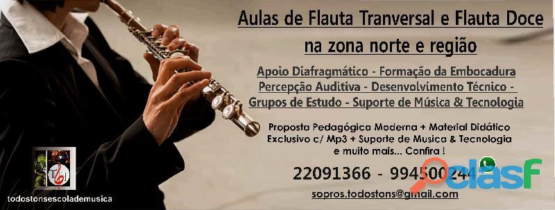 Aulas de flauta transversal & flauta doce na zona norte de sp