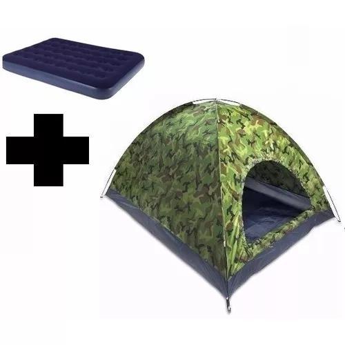 Barraca camping camuflada 6 lugares + colchão casal + frete
