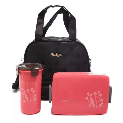 Bolsa térmica lancheira + marmita + garrafa: fitness 3