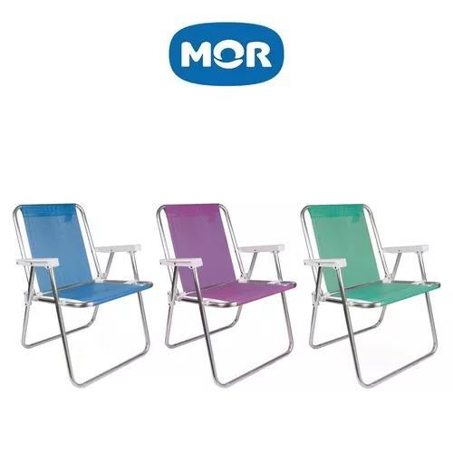 Cadeira de praia alta alumínio sannet mor