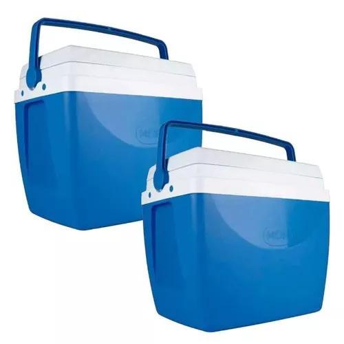 Caixa térmica 34 litros azul com 2 unidades mor