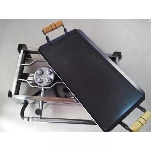 Fogão inox fogareiro a gás duas bocas + chapa e kit gás