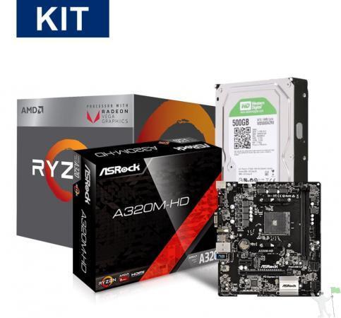 Kit promocional processador ryzen 5 2400g + placa mãe