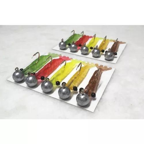 Kit 10 isca camarão artificial 8 cm c/ jig head 20 gramas
