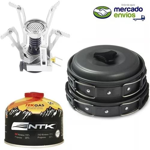 Kit cozinha camping panelas jinx + mini fogareiro + tekgas